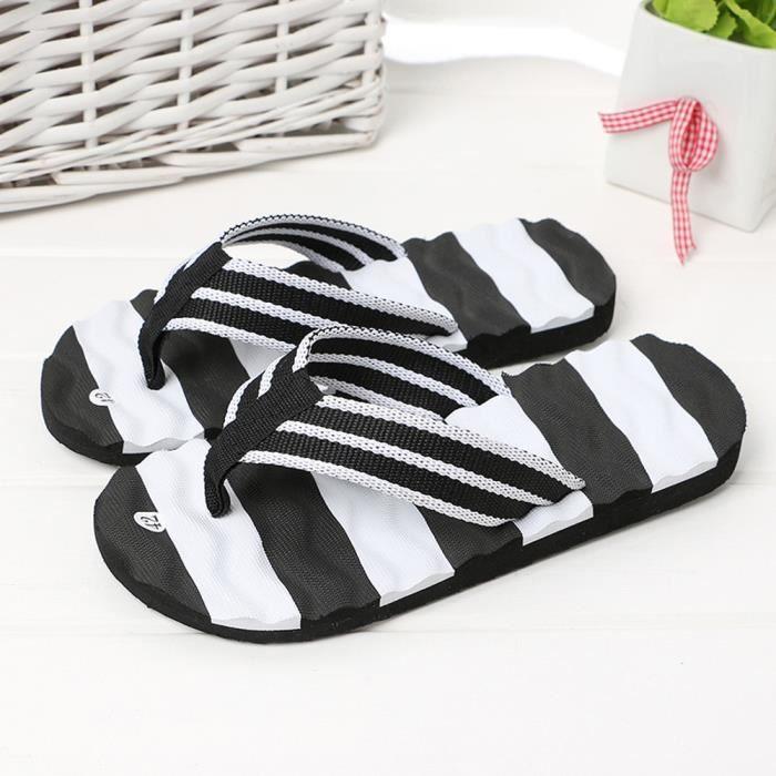 Sandales d'été pour hommes Pantoufles d'intérieur extérieures Flip-flops Chaussures de plage LJJ80309874BK Noir llJ81yR