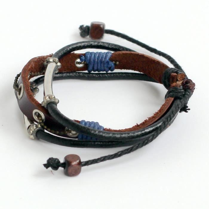 Bracelet en cuir pour femme en cuir Bracelet Perles Bracelet Bracelet à breloques Tubes Bracelet chaîne Bracel DGM3L