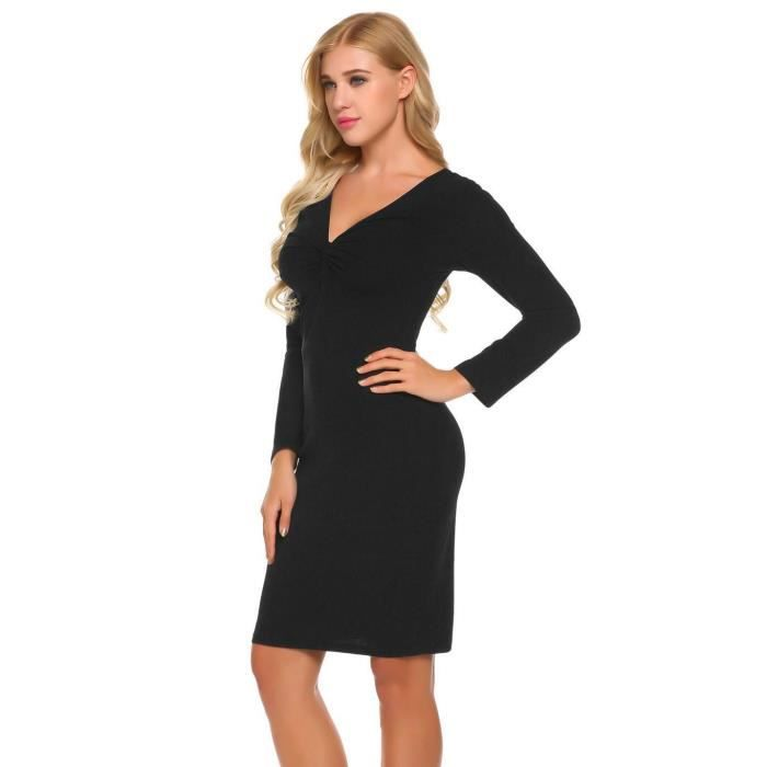 Robe Femmes Casual V-cou Ruffle manches longues Sexy