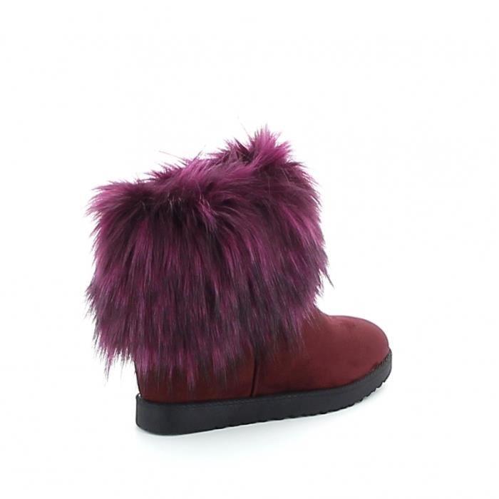 Boots en fourrure synthétique - Prune