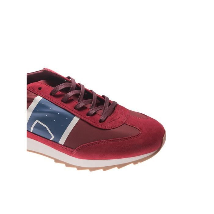 PHILIPPE MODEL HOMME PSLUB021 ROUGE FIBRES SYNTHÉTIQUES BASKETS M01NfcRB