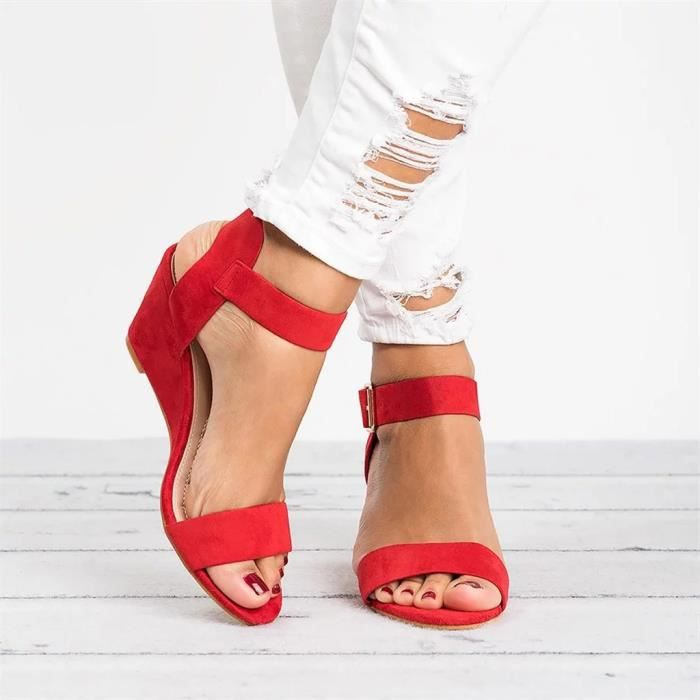 Wedges Talon Modehall Femmes Roman Chaussures 3096 Boucle Solide Sangle Sandales Mode Mesdames 5gZqxwUq