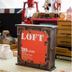 ARMOIRE - BOITE A CLÉ armoire à clés rouge boîte à clé en bois 26*22*7CM