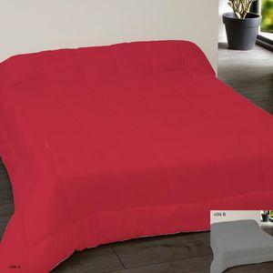 COUETTE Couette bicolore 220x240 rouge gris foncé Gris, Ro
