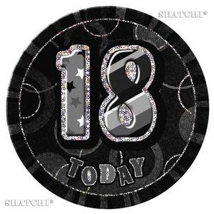 PORTE BADGE 18ème Anniversaire Badge Parti Glitz Noir Adolesce
