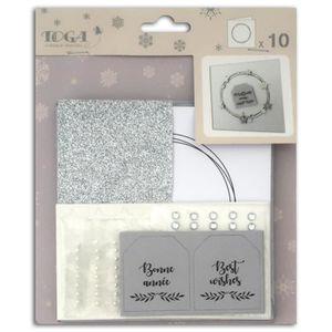 Enveloppes argentés 15cm Carrés à décorer faire-part carterie 8 Cartes Doubles