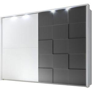 ARMOIRE DE CHAMBRE Armoire 2 portes coulissantes 275 cm Blanc/Gris ma
