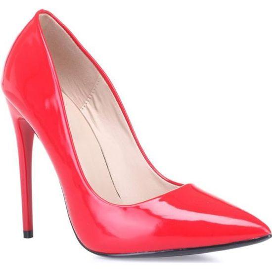 Stilettos rouges vernis-37 Rouge Rouge - Achat / Vente escarpin