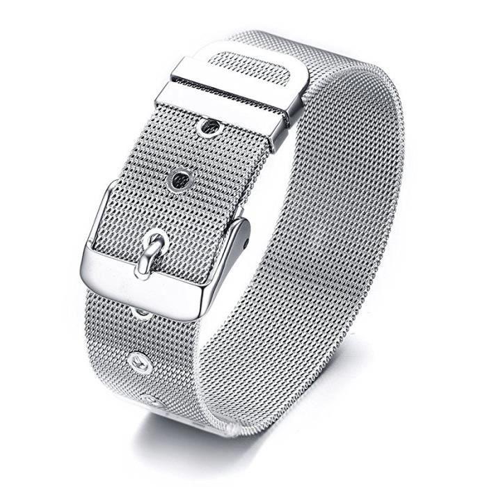 f0554dd0a7fd Bracelet acier boucle de ceinture - Achat   Vente pas cher