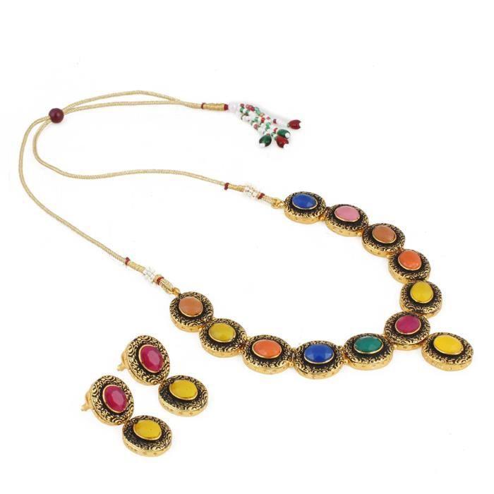 Plaqué or Femmes Kundan Bijoux Collier Set avec boucles doreilles pour -OBGRI