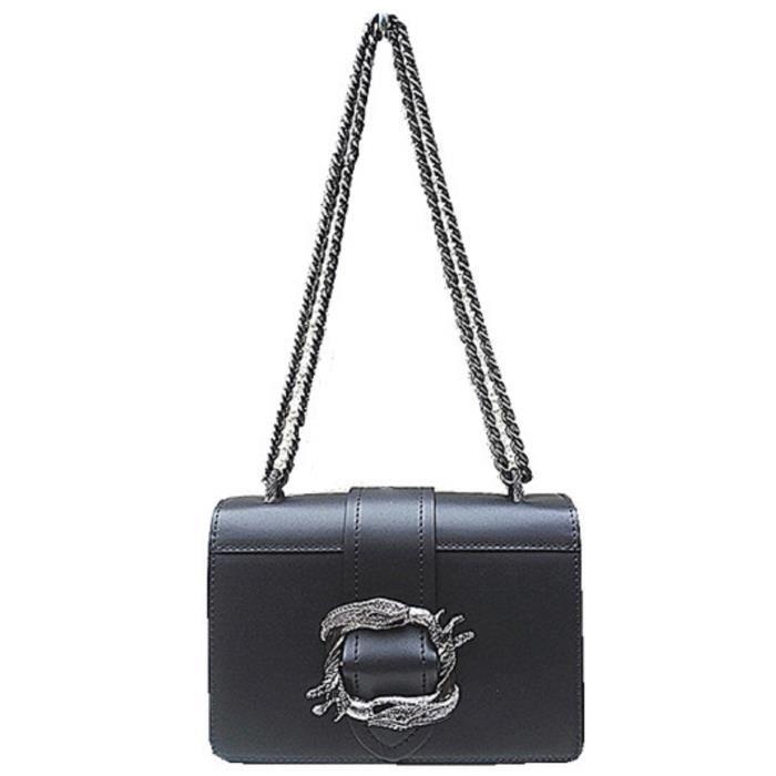 Fashionfolie888 -Femme sac CUIR soirée Sac à bandoulière porter à lépaule chaîne taille 22X15X7 cm NOIR