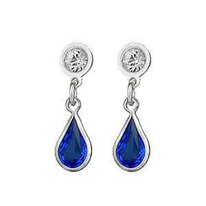 Boucles doreilles Argent 925 et Zirconium Bleu Azur Goutte