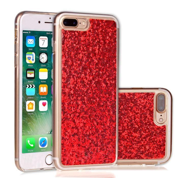 coque iphone 7 plus rouge paillette