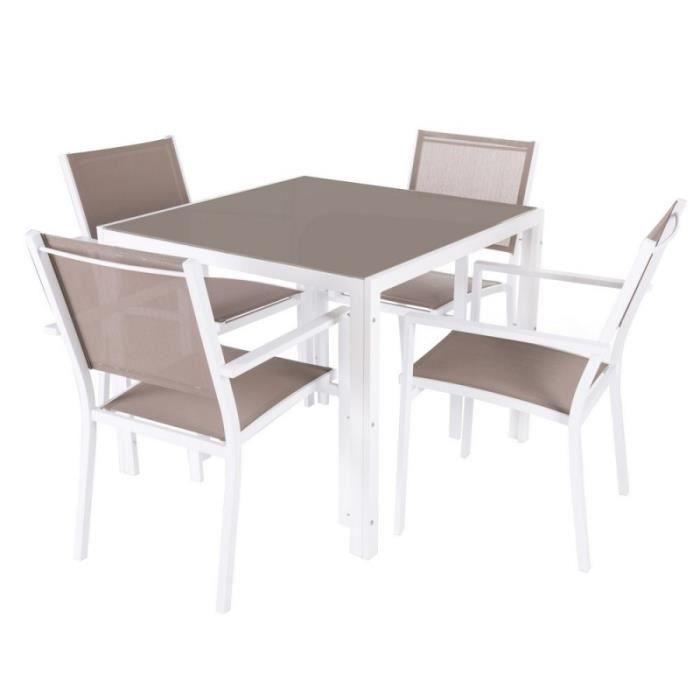 Ensemble table de jardin carrée + 4 chaises en aluminium et verre ...