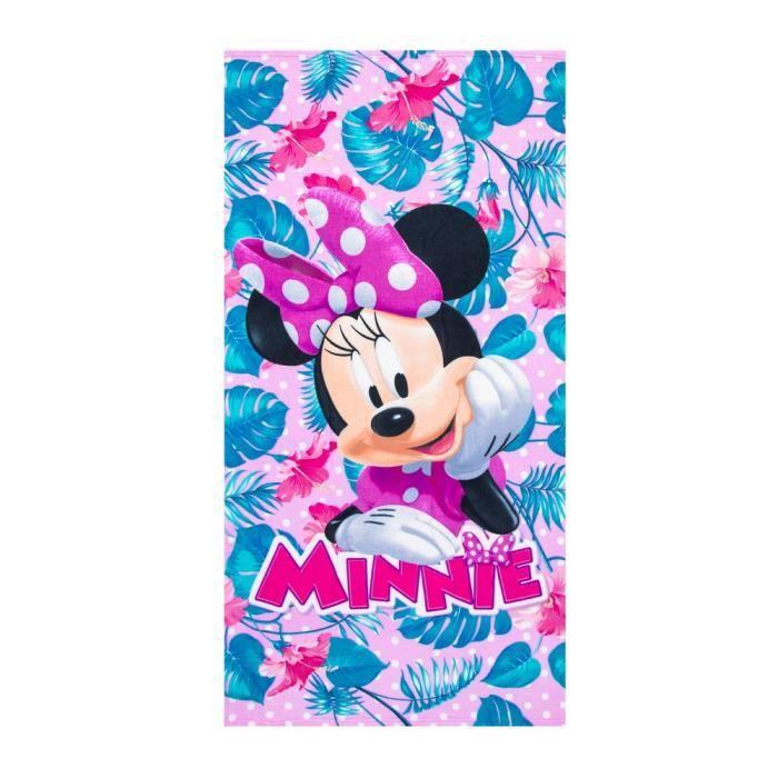 Drap de bain Minnie Mouse serviette plage enfant feuille   Achat