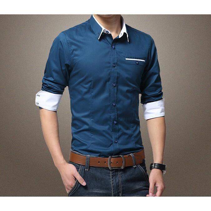 collection de l 39 automne hiver chemise homme d c bleu marine achat vente chemise. Black Bedroom Furniture Sets. Home Design Ideas