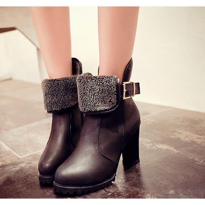 (Noir)Chaussures de coton bottes à talons hauts en laine chaude hiver Martin bottes.