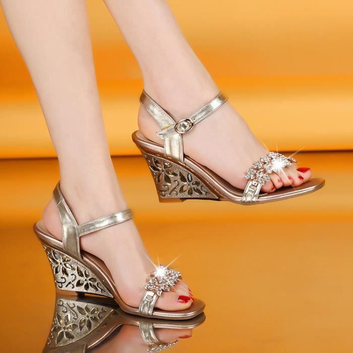 Nouvelles famme 'argent strass bohème T-strap sandales compensées PY2Vqvw