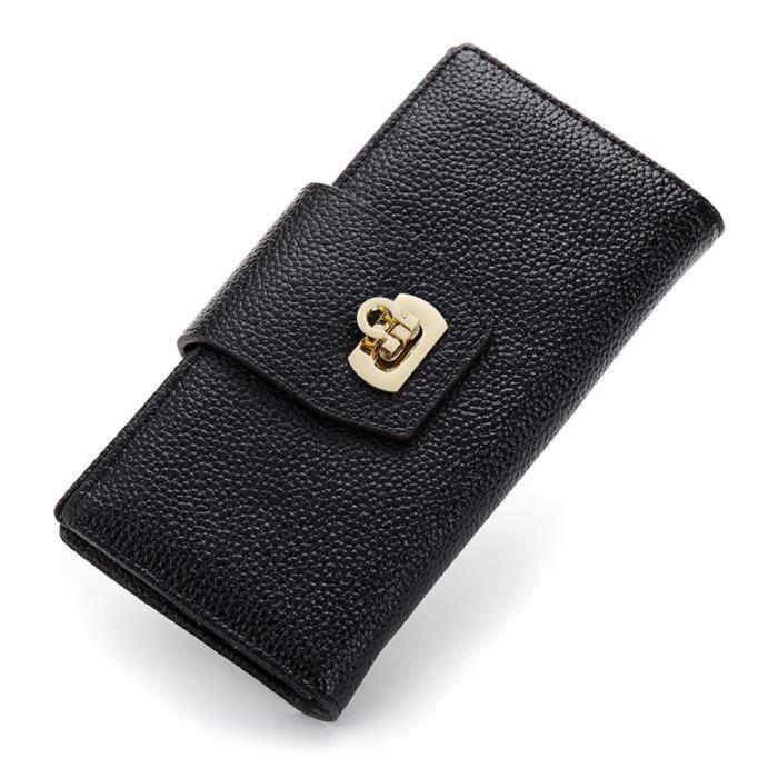 Portefeuille femme cuir veritable Noir Violet