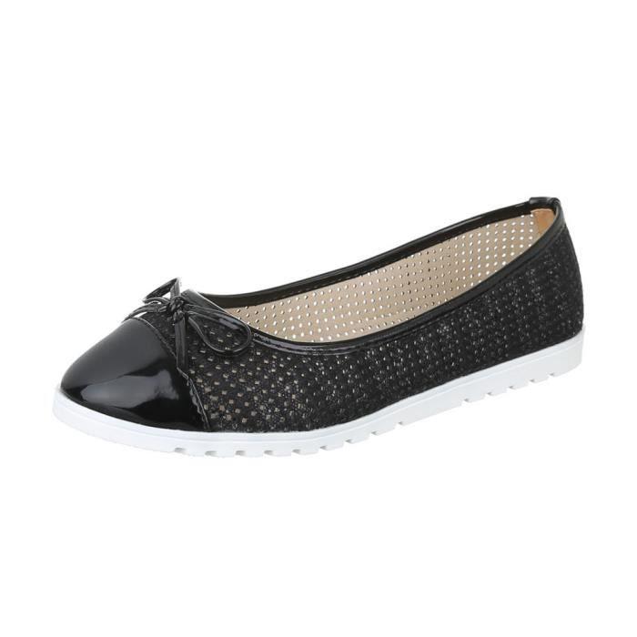 femme ballerine chaussure flâneurs mocassin Glisser surnœud Perforierte noir