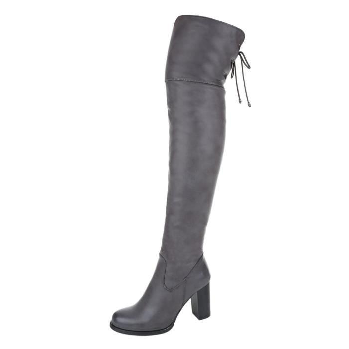 femme bottes overknees chaussure mode gris