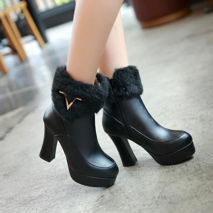 GLAM®les bottes avec les épaisses bottes à talons unique au printemps x04OR5O