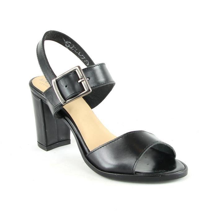 Silvia - Sandales à talon en cuir - noir