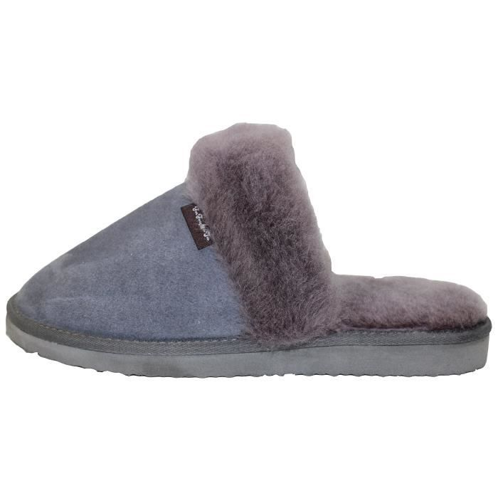Genuine Australian Sheepskin Slippers Sheepskin Sheep Wool With Cowhide Leather Slippers Super Thick V5UD9 Taille-43