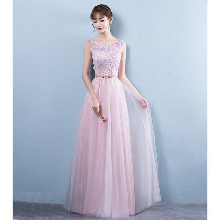 e5ed122335a Robe Longue femmes Pour Cérémonie Mariage Cocktail Soirée Rose clair WK609