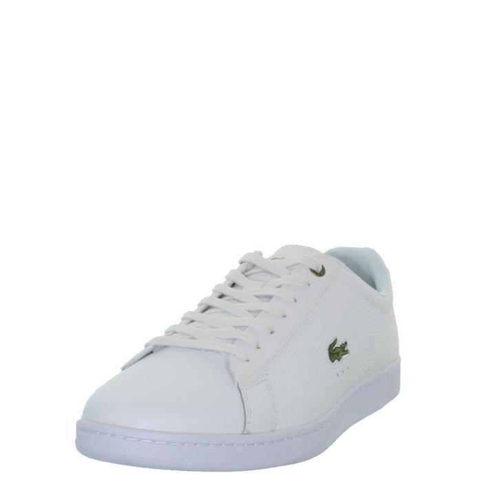 a50a5e0bac Baskets homme Lacoste Carnaby Evo en cuir ref_43443 Blanc Blanc ...