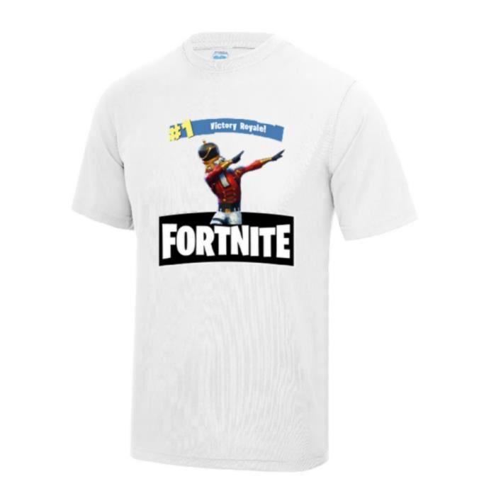 05c964fb665d0 Maillot - Tee shirt FORTNITE enfant de la Victoire Royale blanc Taille de 7  à 13 ans