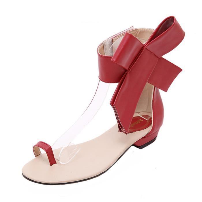 Filles Plates Chaussures D'été Sandales Mignon Party Sexy Rouge Femmes Mode Bowknot n1qpTP1O
