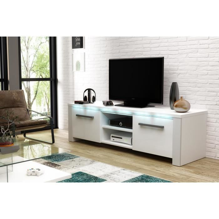 Manhattan Meuble Tv Blanc Mat Avec Blanc Brillant Eclairage à La