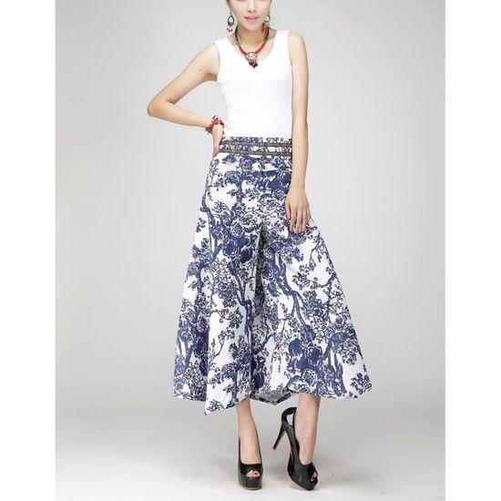 b3fc6b03d0aef Pantalon large jambes femme Bleu OL vintage lin fluide taille haute droit imprimé  fleur grande taille bohême d'été de plage - Achat / Vente pantalon ...