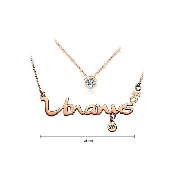 Glamorousky Douze Horoscope Aquarius Collier en Acier Inoxydable avec élément Blanc Élégant Cristal (24054)