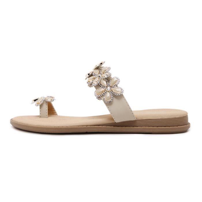 Style Noir Fille Plage Minetom beige De Rhinestone Slippers Chaussures Sandales Compenses D't Femme Bohmien Tongs SqZB0S