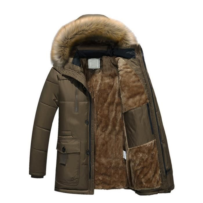 À Manteau Veste Zippé Hommes Chaud D'hiver Les Wll5924 Polaire Capuchon Coton Veberge Rembourré En Solide Épais PIA0qx
