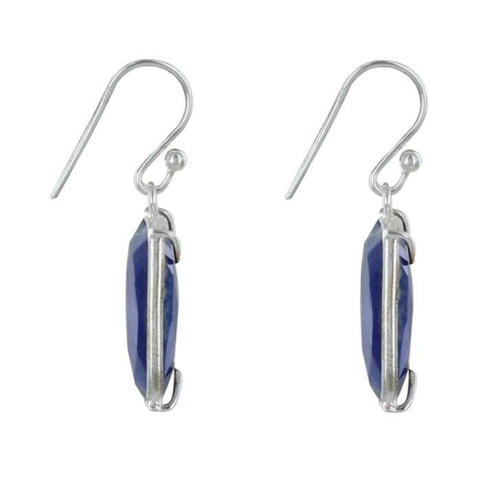 Les Poulettes Bijoux - Boucles dOreilles Argent Rectangle de Lapis Lazuli Facetté