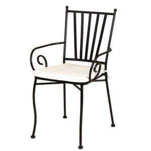chaise chaise en fer forg noir et coussin beige huelva - Chaise En Fer