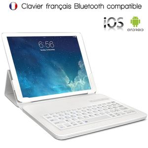CLAVIER POUR TABLETTE Étui Blanc Universel L Clavier Azerty Bluetooth po