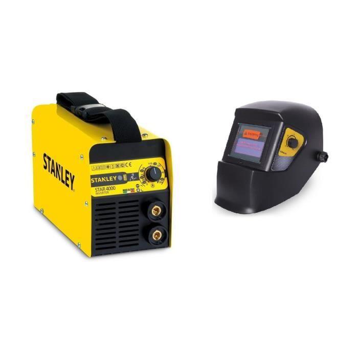 STANLEY Poste à souder inverter Star4000 160A avec cagoule de soudure LCD automatique 9/13 + lot de 5 électrodes