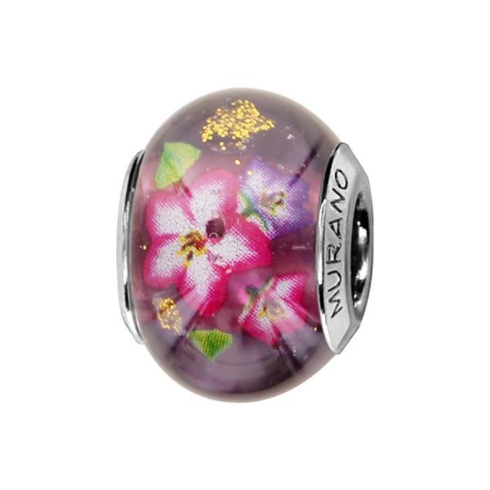 Charms Argent 925 Perle Murano Violet avec Fleurs