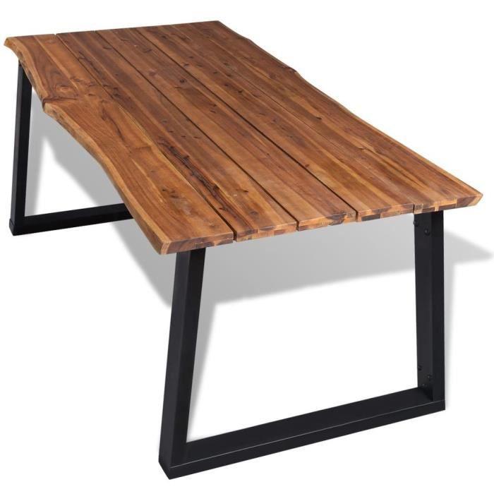 Table salle a manger bois noir achat vente pas cher for Table de salle a manger noire