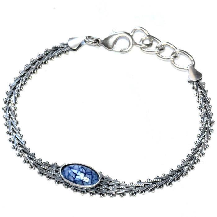 Bracelet Vintage Plaqué Argent Maille Chevron Nacre Bleu