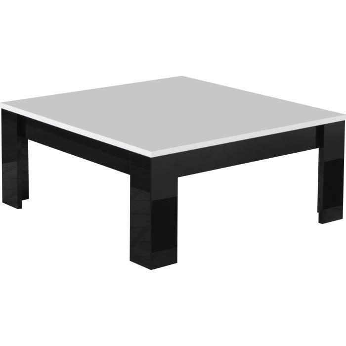Table Basse Carree Coloris Noir Et Blanc Laque Brillant