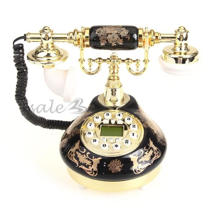Téléphone Fixe avec Combiné en Résine Rétro Décoration pour Maison Noir Or 62b85b7ea0b5