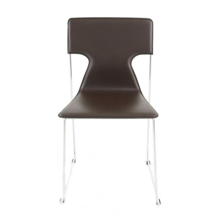 2x Chaise Design Cuir Reconstitue Marron Fonce