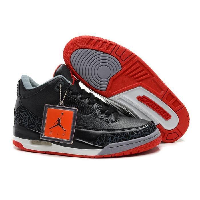 la meilleure attitude 59638 84b7f Air Jordan 3 Retro Hommes Sneakers Chaussures noir et rouge ...