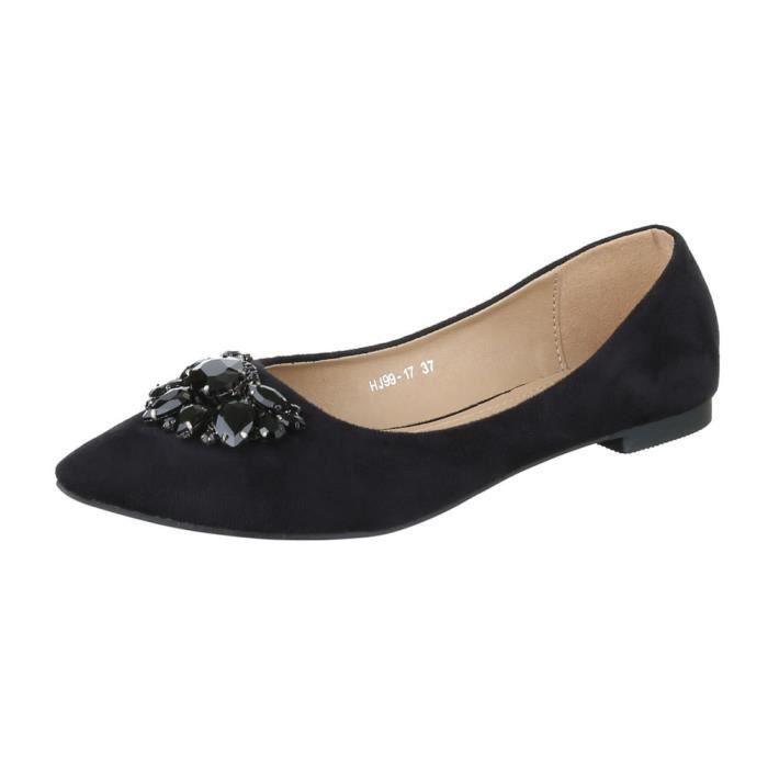 femme ballerine chaussure escarpin avec Strasssteinen noir