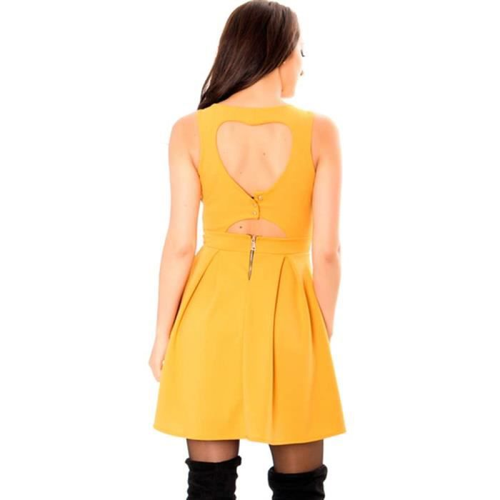 Miss Wear Line - Robe patineuse moutarde avec un joli décolleté en coeur au dos